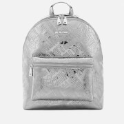 Love Moschino Women's Metallic Embossed Logo Backpack - Pewter