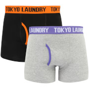 Tokyo Laundry Men's Heiron 2 Pack Boxers - Harvest Pumpkin/Purple Opulence