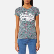 Superdry Women's Vintage Logo Burn Out Aop T-Shirt - Green