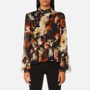 Gestuz Women's Fergie Flower Print High Neck Blouse - Multi