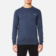 GANT Men's Cotton Wool Mix Crew Knitted Jumper - Dark Jeans Blue Melange