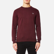 GANT Men's Cotton Wool Mix Crew Knitted Jumper - Dark Burgundy Melange
