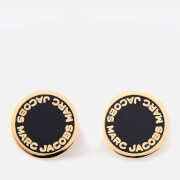 Marc Jacobs Women's Enamel Logo Disc Studs - Black/Oro