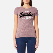 Superdry Women's Vintge Logo Lg Stripe T-Shirt - Egerie Burgundy/Michigan Mauve Stripe