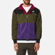 Billionaire Boys Club Men's Panelled Sherpa Fleece Zip Through Jacket - Green/Purple/Red