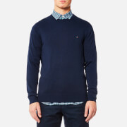 Tommy Hilfiger Men's Plaited Cotton Silk Crew Neck Knitted Jumper - Maritime Blue Heather