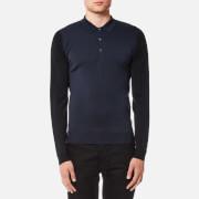 John Smedley Men's Brightgate 30 Gauge Merino Long Sleeve Polo Shirt - Summit Blue/Bardot Grey