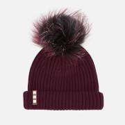 BKLYN Women's Merino Wool Hat with Black/Cherry Pom Pom - Maroon