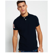 Superdry Men's Classic Emboss Pique Short Sleeve Polo Shirt - Eclipse Navy