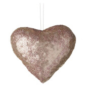 Parlane Sequin Hanging Decoration (10 x 12cm) - Pink Heart