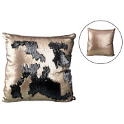 Parlane Two Tone Sequin Cushion (43 x 43cm) - Black/Rose Gold