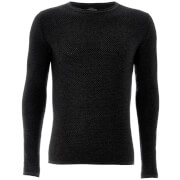 Threadbare Men's Barnes Textured Crew Neck Jumper - Charcoal Marl