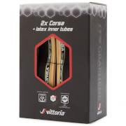 Vittoria Corsa G+ Road Tyre - Twin Pack with Latex Tubes - Para/Black - 700c x 25mm