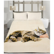 Dreamscene Cat Faux Fur Throw (150 x 200cm)