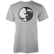 T-Shirt Homme/Femme Chat Ying Yang - Gris