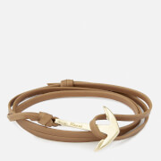 Miansai Men's Leather Bracelet with Gold Anchor - Brown