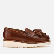 Grenson Women's Clara Hand Painted Leather Tassle Loafers - Tan