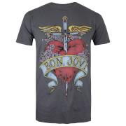 T-Shirt Homme Cœur Tatoué Bon Jovi - Gris