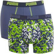Lot de 2 Boxers Imprimés Blocs Puma - Bleu / Vert