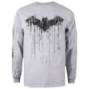 DC Comics Men's Batman Paint Long Sleeved T-Shirt - Grey Marl