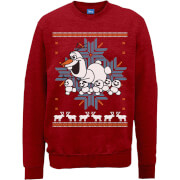 Disney Frozen Christmas Olaf And Snowmens Red Christmas Sweatshirt