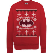 DC Batman Christmas Knit Logo Red Christmas Sweatshirt