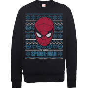 Marvel Comics The Amazing Spiderman Face Black Christmas Sweatshirt