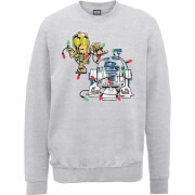 Star Wars Tangled Fairy Lights Droids Grey Christmas Sweatshirt