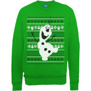 Disney Frozen Christmas Olaf Dancing Green Christmas Sweatshirt