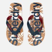 Superdry Men's Printed Cork Flip Flops - Darkest Navy/Optic Hibiscus
