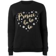 Prosecc Ho Ho Ho Metallic Black Christmas Sweatshirt