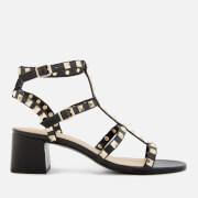 Ash Women's Rolling Studded Blocked Heeled Sandals - Black