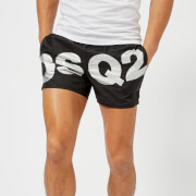 Dsquared2 Men's Diagonal Logo Swim Shorts - Black/Silver