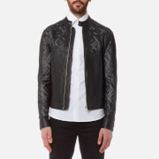 Versace Collection Men's Perforated Leather Jacket - Nero