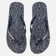 Armani Exchange Men's AX Flip Flops - AX Geometric Navy