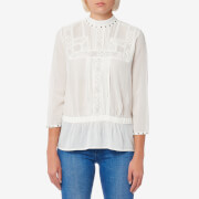 Maison Scotch Women's Embroidered Top with Small Studs - Off White