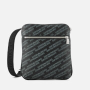 Emporio Armani Men's Allover Logo Cross Body Bag - Black