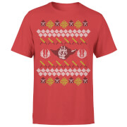 T-Shirt de Noël Homme / Femme Visage de Yoda et Sabre Star Wars Effet Tricot - Rouge