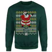 Dabbing through the snow Fair Isle Sweatshirt - Forest Green