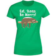 Eat, Sleep, Be Merry Women's T-Shirt - Kelly Green