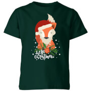 Christmas Fox Hello Christmas Kids' T-Shirt - Forest Green