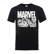 Marvel Comics Action Tiles Men's Black T-Shirt