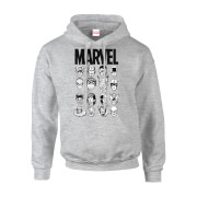 Marvel Comics Multi-Faces Men's Grey Pullover Hoodie