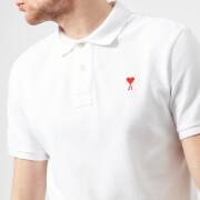 AMI Men's Heart Logo Polo Shirt - White