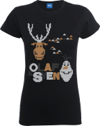 Disney Frozen Olaf And Sven Women's Black T-Shirt