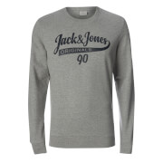 Jack & Jones Men's Originals Galions Large Logo Sweatshirt - Light Grey Marl