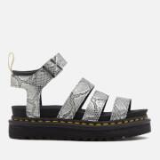 Dr. Martens Women's Vegan Blaire Strappy Flatform Sandals - Silver/Black