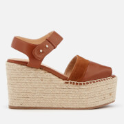 Castañer Women's Enea Leather Wedged Sandals - Cuero