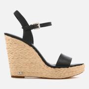 MICHAEL MICHAEL KORS Women's Jill Tumbled Leather Wedged Sandals - Black