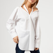 T by Alexander Wang Women's Cotton Poplin Shirt with Neck Twill Tape Detail - White